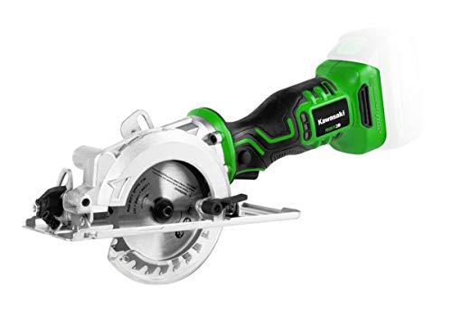 Kawasaki Mini Handkreissäge 20 Volt, bürstenloser Motor Sägeblatt-Ø: 115 mm, Bohrungs-Ø: 10 mm, Schnitttiefe: 42,8 mm 90°, Akku-Kreissäge, einhändige Verrieglung, werkzeuglose Schnitttiefeneinstellung