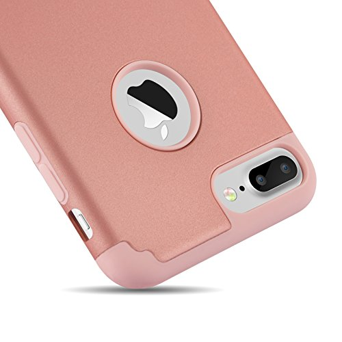 iPhone 7 Plus Cases, Case Cover duplice ibrido per iPhone 7 Plus 5,5 Plus pollici. Cover duro per iPhone 7 Plus PC+ Silicone ibrido impatto grande Difensore custodia Combo duro morbido Cases Covers,Ne Rosa-iPhone 7 Plus