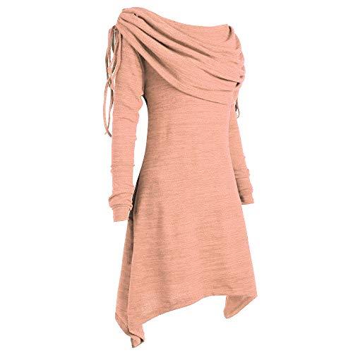 BHYDRY Herbstmode Damen Pullover Longpullover Foldover Kragen Tunika Falten Shirt Damen Loose Asymmetrisch Sweatshirt Long Top Oversize Pullover Oberteile Langarmshirt Große Größen