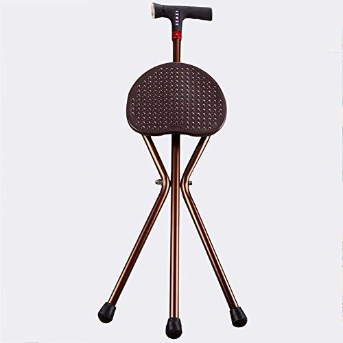 GLJY Cane Seat, Klapp Stativ Krücke mit LED-Licht, Medizinische Hilfe Massage Walking Stick mit Sitz Hocker Stuhl mit Radio und Alarm,B -