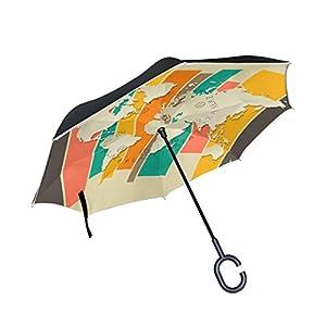 bennigiry mapa del mundo Impresión Reverse coche paraguas, de doble capa superior resistente al viento y protección UV paraguas invertido con forma libre manos Mango