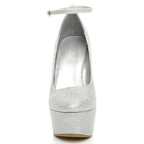 Femmes talon haut chaussures à semelles compensées babies pointure Paillettes d'argent