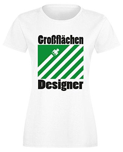 Großflächen Designer - Perfektes Geschenk für Landwirte - Damen Rundhals T-Shirt Weiss/Schwarz-gruen