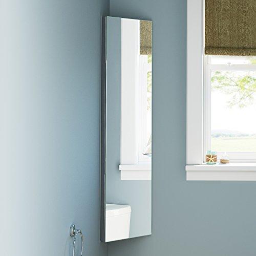 soak Armario de baño esquinero extralargo de 1200 x 300mm de acero inóxidable con espejo