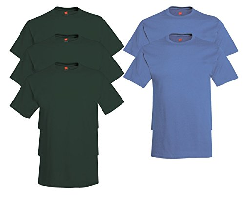 Hanes Men's Tagless Comfortsoft Crewneck T-shirt (Pack of 5) 3 Deep Forest / 2 Denim Blue