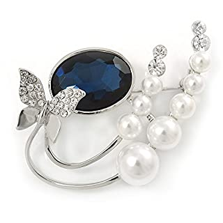 Avalaya Rhodium Plated Blue CZ, Glass Pearl Floral & Butterfly Brooch - 45mm Across