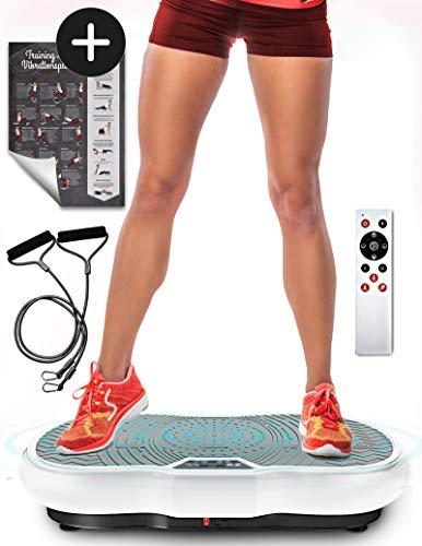 Sportstech Vibrationsplatte VP200 mit Bluetooth, innovativer Oszillationstechnologie für zu Hause, inkl. Poster + Trainingsbändern + Fernbedienung + Integrierter Lautsprecher im Vibrationsgerät