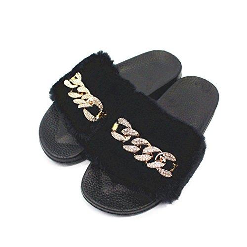 Damen Faux Pelz Hausschuhe Diamante Kette Flip Flop Bequeme Slip On Freizeitschuhe Gummi Wohnungen Maultiere Größe (schwarz rosa grau) ( Color : Black , Size : 39 ) (Schaffell-plattform Schwarz)