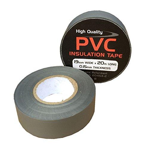 3 x Grigio Elettrico PVC Isolamento Nastro 19mm x 20 Metri, Ritardante di Fiamma - 3 Metri Nastro Isolante Elettrico