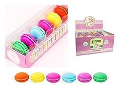 Idea Regalo - Gomme per cancellare a forma Macarons il famoso pasticcino francese. Confezione da 6 pezzi di tutti i colori