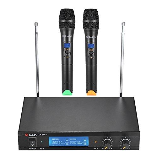 ammoon Microfoni Sistema L&Y LY-8103L Doppio Canale VHF Wireless con 2 Microfoni a Mano Ricevitore con Schermo LCD Cavo Audio da 6,35 mm Adattatore di Corrente