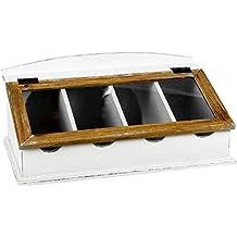 Besteckaufbewahrung im Landhausstil in Vintage Wei/ß aus Paulownia-Holz BUTLERS Campagne Besteckkasten mit Glasdeckel 4 F/ächer