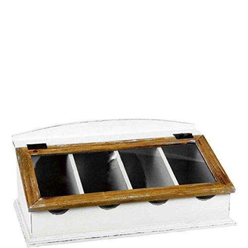 BUTLERS Campagne Besteckkasten mit Glasdeckel - Besteckaufbewahrung im Landhausstil in Vintage Weiß aus Paulownia-Holz...