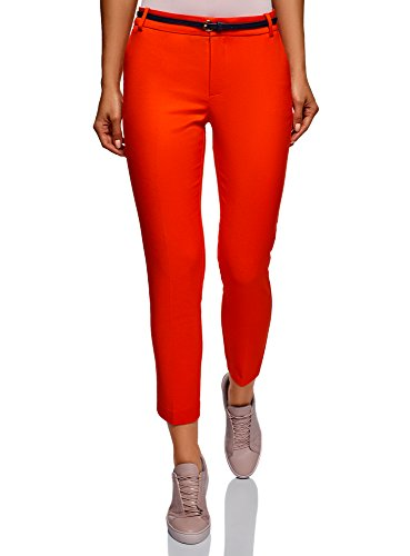 oodji Collection Damen 7/8-Hose mit Gürtel, Rot, DE 36 / EU 38 / S