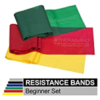 TheraBand Resistance Band Set, Professional Latex Elastic Bands for Upper & Lower Body, Core Exercise, Physical Therapy, Lower Pilates, At-Home Workouts, Rehab, 5 Foot, Yellow, Red & Green, Beginner