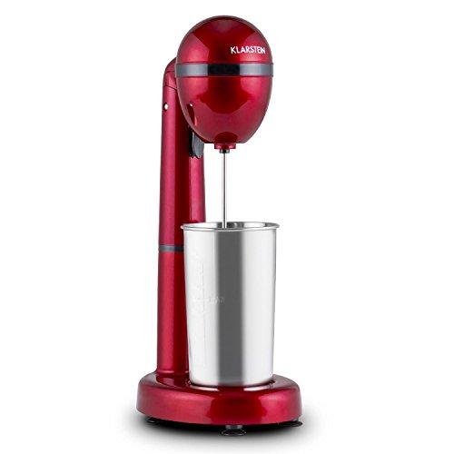Klarstein van Damme - Drink-Mixer, Getränkemixer, Mini-Standmixer, Milkshake Maker, 100 Watt, 22.000 Umdrehungen pro Minute, 450 ml Fassungsvermögen, Edelstahl-Mixbecher, Becherhalterung, rot