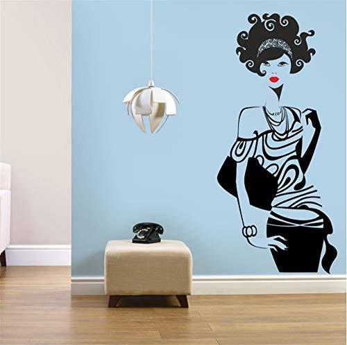 Frau Wandtattoo Vinyl Kostüm Beauty Salon Home Hintergrund Dekoration Abnehmbare Wasserdichte 96x42 - Salon Frau Kostüm