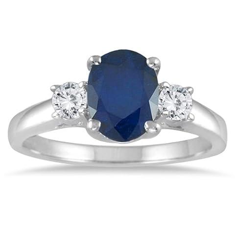 1.55 Carat Sapphire and Diamond Three Stone Ring in 14K White Gold