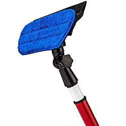 Tyroler Telescoping Window Cleaner Squeegees Cleaning Kit / Window Cleaning Equipment / Window Cleaning Mop / 2 in 1 - Microfiber Cloth & Rubber Squeegee Tool- Pivoting Cleaning Head- 1.6 M Long Telescopic Pole - Best Cleaner for - Windows / Glass Door / Outside Window Cleaning / Long Reach Window