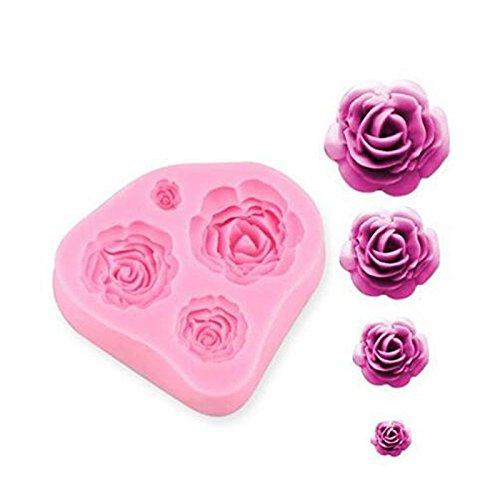 Romote 3D-Rosen-Blumen-DIY Kuchen, Fondant-Silikon-Zuckerfertigkeit-Mold, Mini