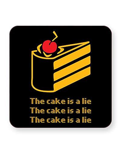"""Getränkeuntersetzer mit Zitat""""The Cake is a Lie"""", quadratisch oder rund, 4 Stück, SQUARE Individual"""