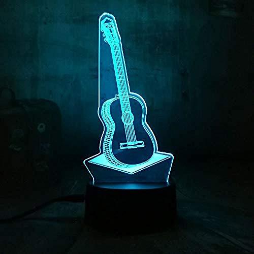 USB 3D Gitarre Musik LED Nachtlicht 7 Farbwechsel Touch Lampe Tisch Geschenk Kinder Schlafzimmer Wohnzimmer Dekoration Fernbedienung