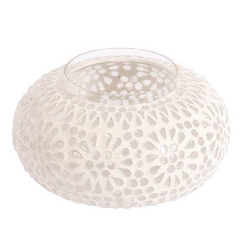 Ian Snow Vase/photophore mosaïque en Forme de Citrouille Blanc