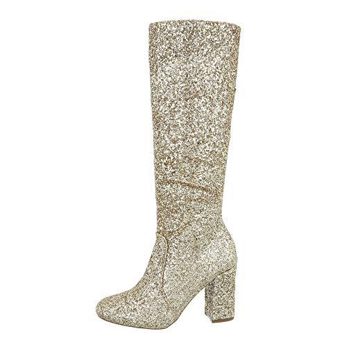 Flache Heel Stiefel (Ital-Design Damenschuhe Stiefel High Heel Stiefel Synthetik Gold Gr. 37)