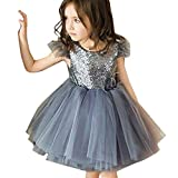 SUCES Mädchen Partykleider Kinder Pailletten Tutu Kleid Modisch Rückenfreies ärmelloses Abendkleid Prinzessin Elegant Schön Cocktailkleid (Grau,90)