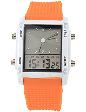 Souarts Orange Silikon Armband LED Sportuhr Armbanduhr Digitaluhr Analog Armreif Uhr mit Batterie
