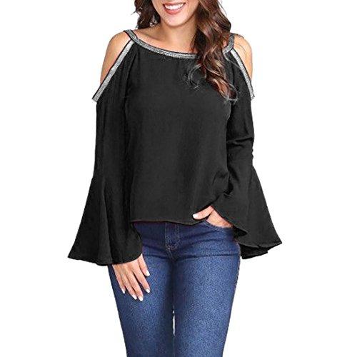 Blouse Femmes Toamen Manchon de Bell T-shirt à manches évasées Blouse Glitter Cold épaule Couleur unie Décontractée Mode Top (XL, Noir)