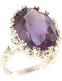 Luxury Solid Sterling Silver Large 16x12mm Oval 8.5ct Natural Amethyst Ring