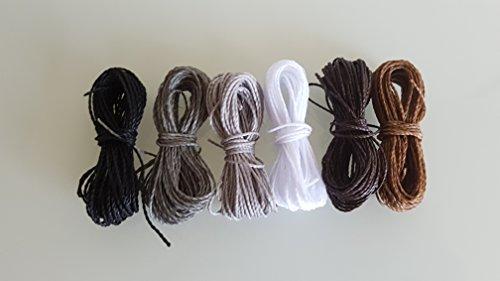 MIX BASIC Schnur Gewachst Linhasita 1mm, 6 Packungen mit 5 Metern pro Farbe Nylon Armbänder Perlen Makramee Gewinde gewachste Polyester Cord Thread Macrame