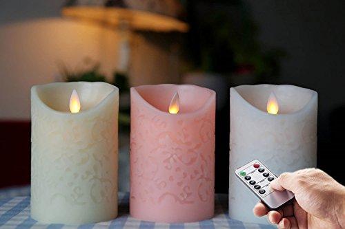 3pcs Moving Wick sin llama parpadeo velas LED de grabado funciona con pilas con temporizador y mando a distancia (color blanco y marfil y rosa)