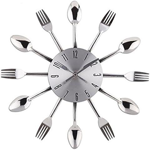 OAGHL Utensili da forchetta-cucchiaio di cucina di orologio parete metallo creativi muto movimento decorazione della casa