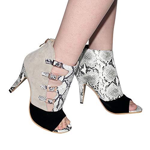 TianWlio Stiefel Frauen Herbst Winter Schuhe Stiefeletten Boots Gürtelschnalle Fischmund Schuhe Stiefel Schlangenmuster Damen Stiefel Schwarz 41