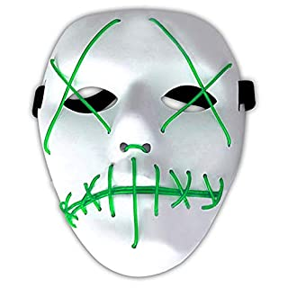 Amasawa LED Light EL Wire Cosplay MaskeLED Light EL Wire Cosplay Maske Ohne Batterie mit 4 Einstellbare Blitzmodi für Halloween Christmas Party Costume Mask Horror (Grün)