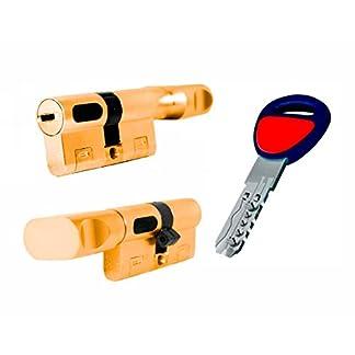 Bombin de seguridad MAUER NW5 31×31 color LATON con POMO, reforzado, antirotura, antibumping, antitaladro, leva antiextracción, cerradura para puerta, 5 llaves, cilindro, tarjeta de seguridad