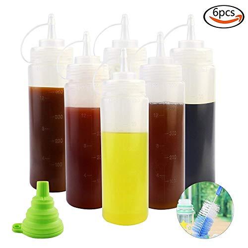 APLANET 6 Stück 473 ml Kunststoff klar Squeeze Flasche Gewürzflasche mit Silikon Faltbarer Trichter und Bürste ALS Geschenk