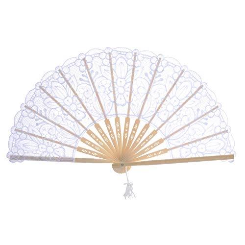 Leezo abanicos de encaje plegables de mano estilo chino con 14 varillas...
