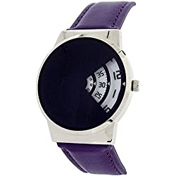 Softech Gents Modern Rotating White Jump Hour Dial Purple PU Strap Watch J648