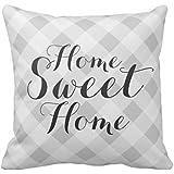"Home Sweet Home gris manta de cuadros Funda De Almohada De 18""* 18"""