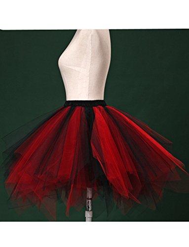 DYSS Damen 1950er Jahre Knielanger Petticoat Vintage Krinoline Tüll Ballett-Blase Tutu Rock Schwarz + Rot