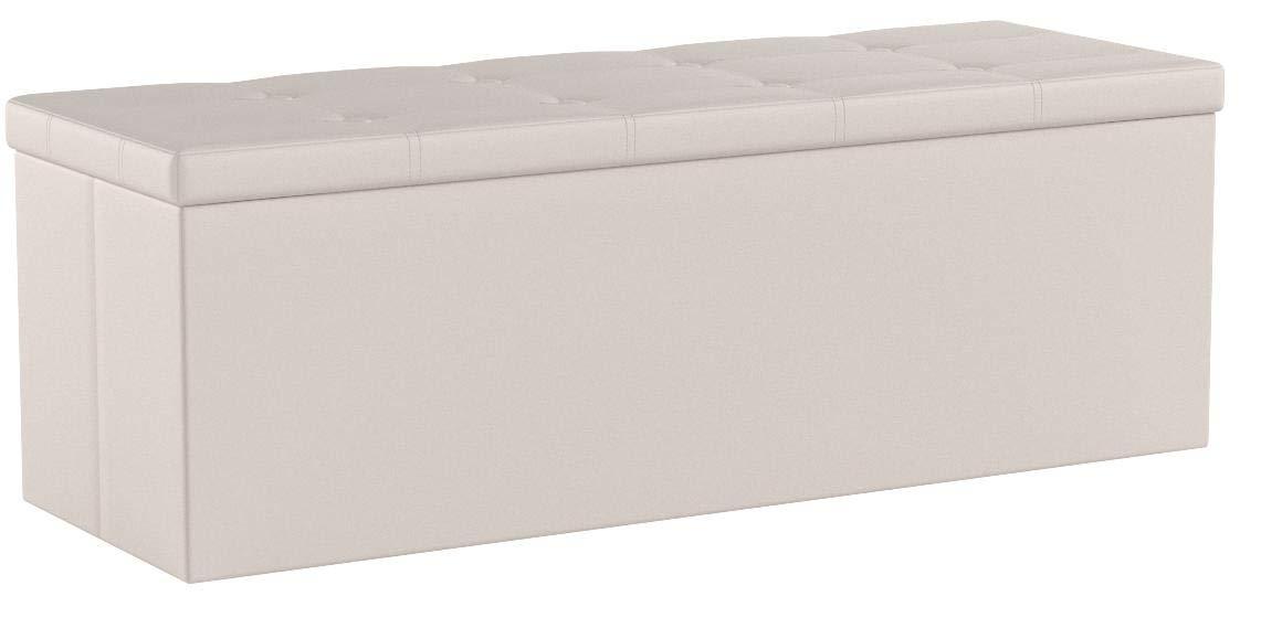SONGMICS Sitzhocker Sitzbank mit Stauraum faltbar 3-Sitzer belastbar bis 300 kg Kunstleder beige 110 x 38 x 38 cm LSF70M
