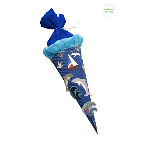 Schultüte Bastelset Meer Delfin Schiff- Zuckertüte - aus 3D Wellpappe, 68cm hoch