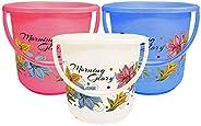 Kuber Industries Floral Print 3 Pieces Unbreakable Strong Plastic Bathroom Bucket 16 LTR (Multi Color) -CTKTC1