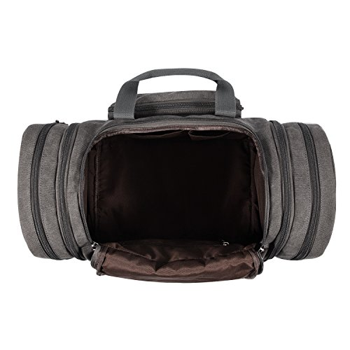 Plambag Borsone da Viaggio per Sport di tela e pelle Borsa Weekend Bag Uomo/Donna Vintage Black