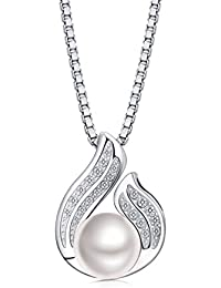 df6ae519d921 Besteel Joyería Plata de Ley 925 Perlas de Agua Dulce Collar para Mujer  Niña Colgante El Unico Amor Circonita…