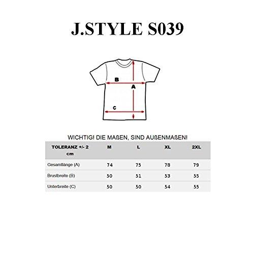 BOLF Herren T-Shirt Tee Kurzarm Rundhals Slim Fit Print Classic Party J.STYLE S039 Grau