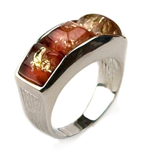 Kirschrot Gemalt Bernstein Sterling Silber Quadratentwerfer Ring